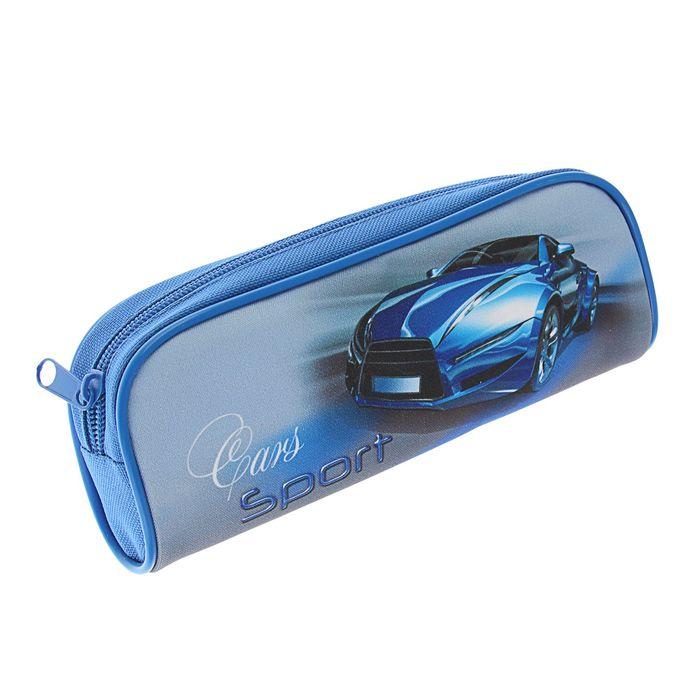 Пенал мягкий Sport car синий, для мальчика, 1 отделение, 80 х 210 х 40 мм, ПМО21-20