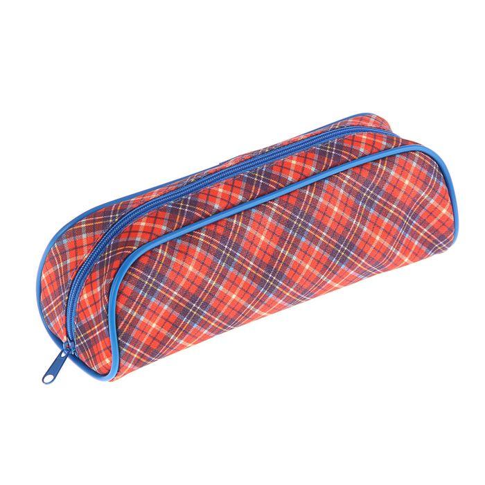 Пенал мягкий «Шотландка красная», 1 отделение, 80 х 210 х 40 мм, ПМО28-20