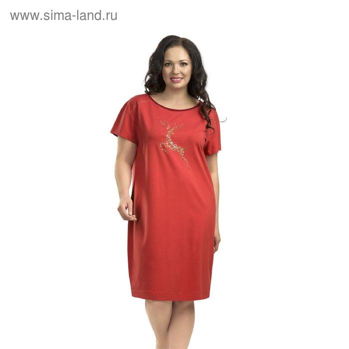 Платье женское, размер 52, цвет коралловый