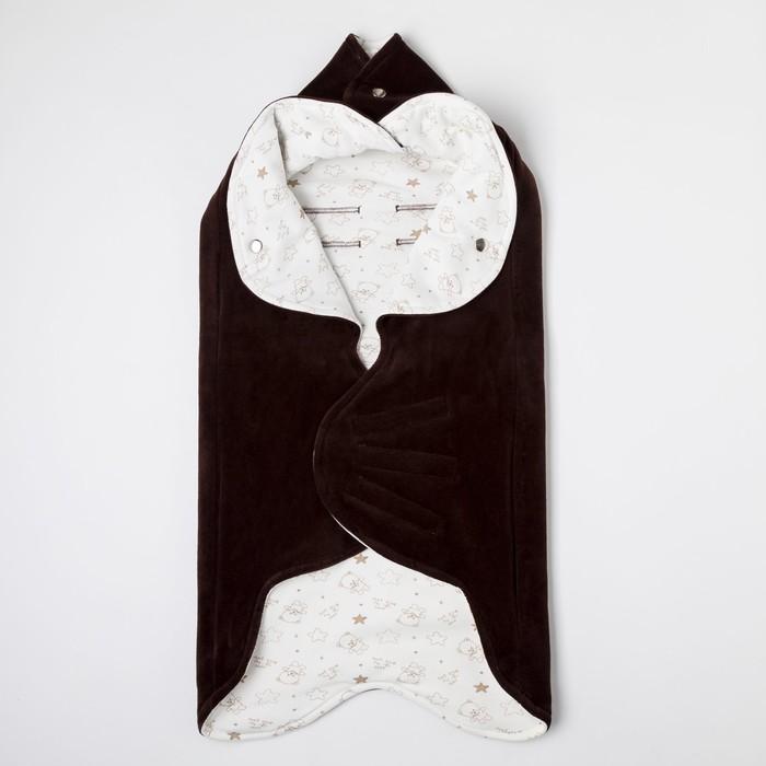 """Одеяло конверт трансформер в коляску """"Мишка со звёздами"""",цвет шоколад ОКк/14(МсЗ) с/ВИ"""