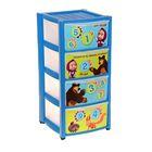 Комод детский из 4 ящиков «Маша и Медведь», цвет голубой