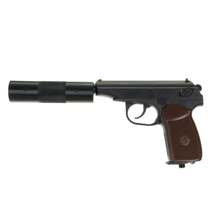 Пистолет пневматический МР-654К-22 с фальшглушителем, обновленная ручка