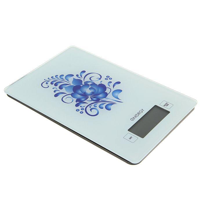 """Весы кухонные электронные ENERGY EN-423, до 5 кг, LCD дисплей, автоотключение, """"гжель"""""""