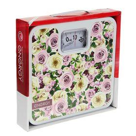 """Весы напольные ENERGY ENМ-409A, механические, до 120 кг, картинка """"Розы"""""""