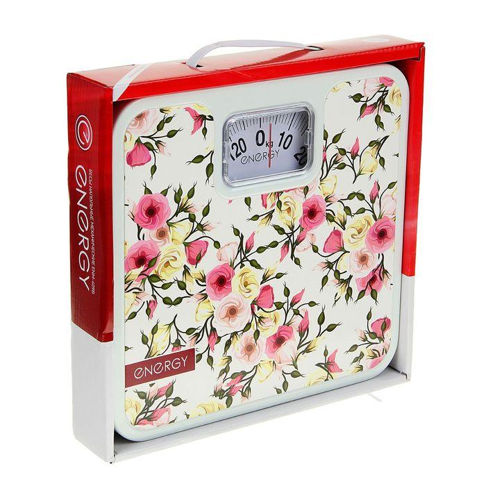 """Весы напольные ENERGY ENМ-409B, механические, до 120 кг, картинка """"Кустовые розы"""""""