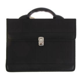 """Портфель деловой ткань 350 х 260 х 100 мм,""""Приморск"""", чёрный"""