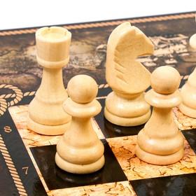"""Шахматы """"Морская карта"""" (доска дерево 50х50 см, фигуры дерево, король h=9.2 см)"""