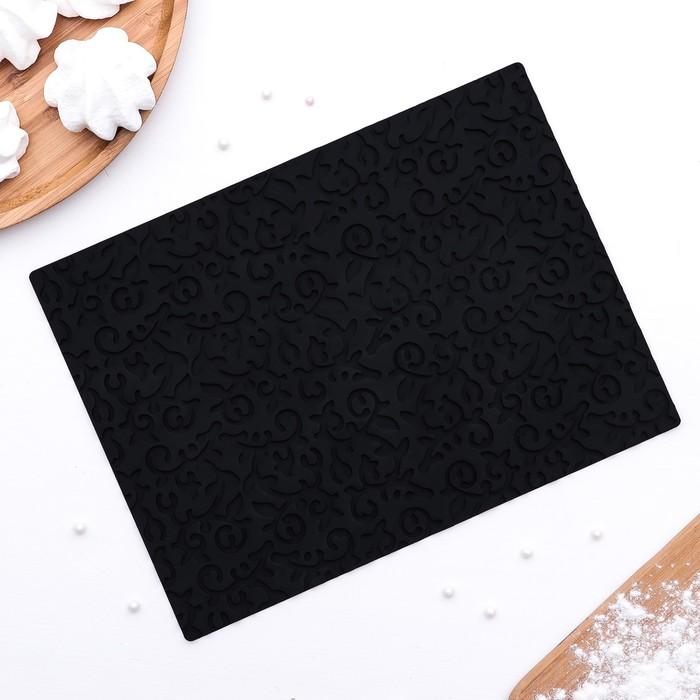"Коврик рельефный 25х18х0,5 см ""Фигаро"", цвет черный"
