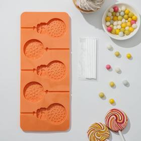 Форма для леденцов и мороженого Доляна «Улыбка», 24×9,5 см, 5 ячеек, с палочками, цвет МИКС