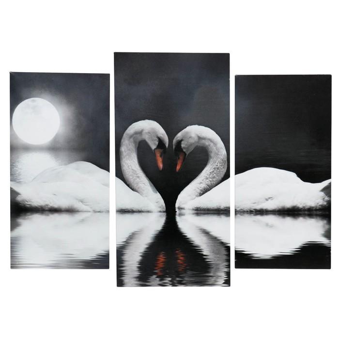 """Модульная картина на подрамнике """"Лебеди в ночи"""", 2 шт. — 25×50, 1 шт. — 30×60, 60×80 см"""