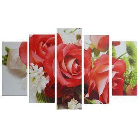 "Картина модульная на подрамнике ""Букет роз"" 2шт-25х52; 2шт-25х67; 1шт-25х80: 80*125 см"