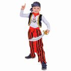 """Карнавальный костюм """"Пират"""", джемпер, брюки, пояс, маска, бандана, наглазник, клипса, сабля, р-р 28, рост 104 см"""