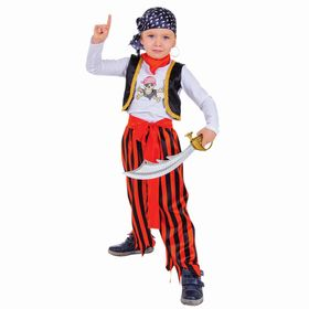 Carnival costume Pirate, jumper, trousers, belt, mask, bandana, Eyecup, belt clip, sabre, R-28 R, height 104 cm