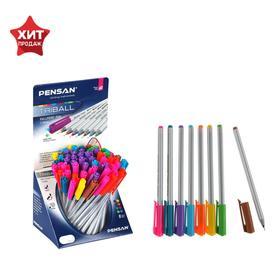 "Ручка шариковая масляная Pensan ""Triball"", 8 ярких цветов, трехгранная, узел 1 мм, линия письма 0,5 мм, дисплей"
