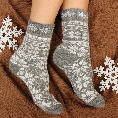 """Носки женские шерстяные """"Снежинка белая"""", цвет серый, размер 25"""