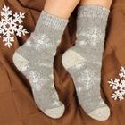 """Носки женские шерстяные """"Снежинка ажурная"""", цвет серый, размер 25"""