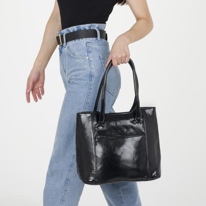 Сумка женская на молнии, 2 отдела на молниях, 2 наружных кармана, цвет чёрный