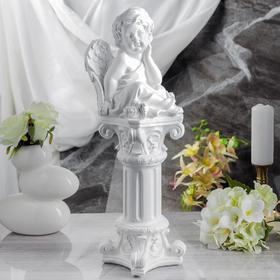 """Сувенир """"Задумчивый ангел на колонне"""" белый, 52 см"""