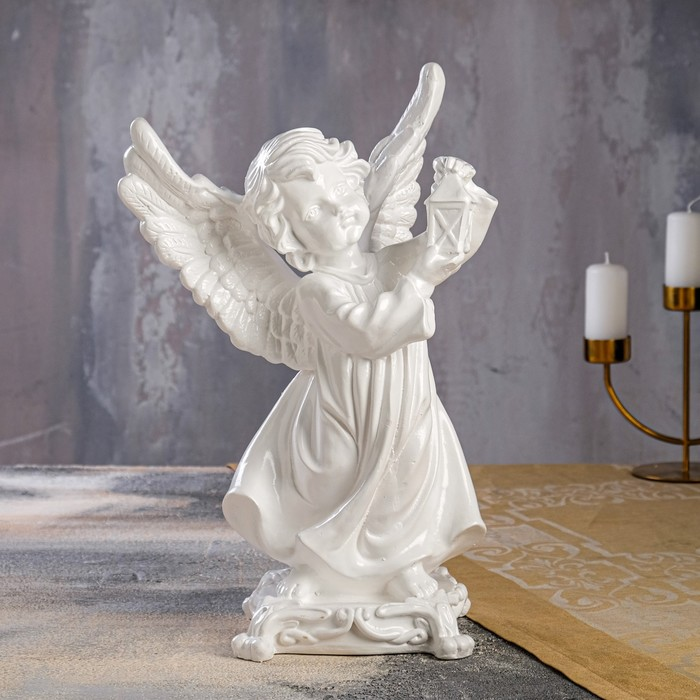 "Сувенир ""Ангел с фонарем"", белый, 35 см"