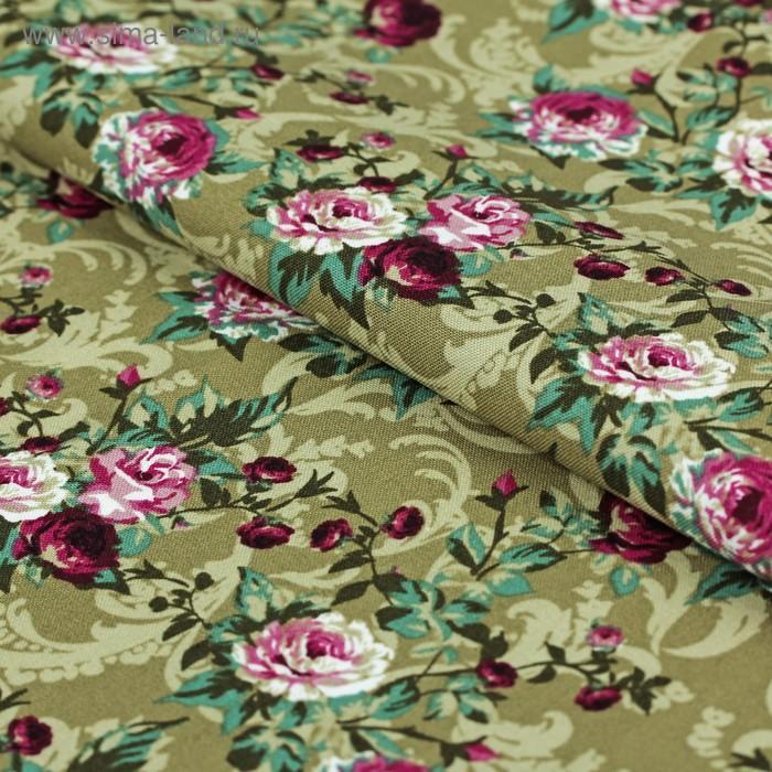 """Ткань для пэчворка """"Викторианские розы"""", 50х55см, 146±5г/кв.м, ВР-30, цвет зелёный"""