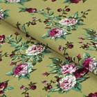 """Ткань для пэчворка """"Викторианские розы"""", 50х55см, 146±5г/кв.м, ВР-31, цвет зелёный"""