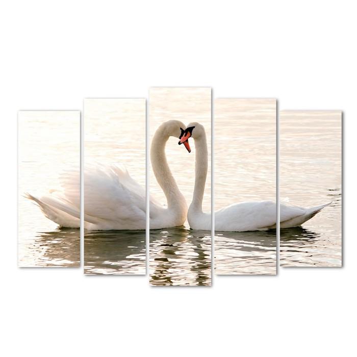 "Картина модульная на подрамнике ""Влюблённые лебеди"" (2-25х63; 2-25х70; 1-25х80) 125х80см - фото 1674584"