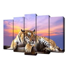 "Картина модульная на подрамнике ""Тигр. На отдыхе"" (2-25х63; 2-25х70; 1-25х80) 125х80см"