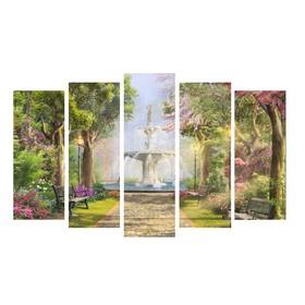 """Картина модульная на подрамнике """"Фонтан в саду""""  125х80 см"""