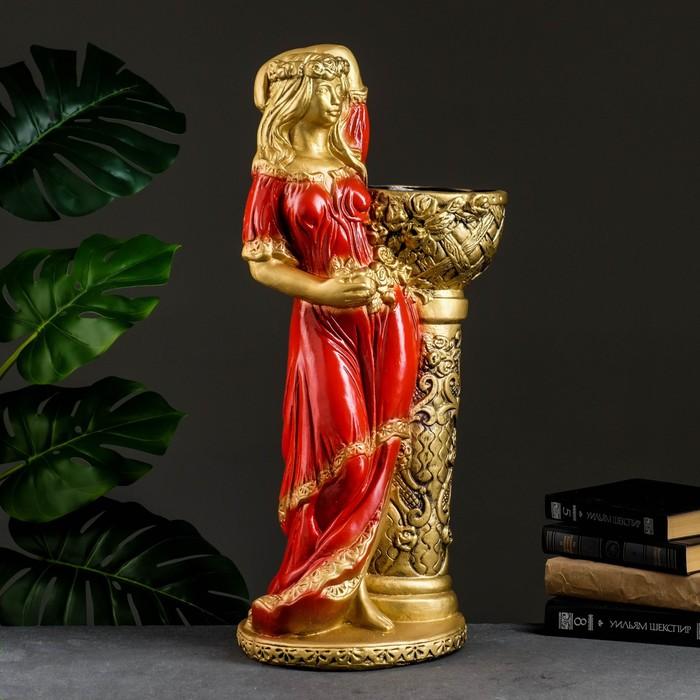 """Фигура с кашпо """"Девушка у колонны"""" бронза, цвет красный, 64 см"""