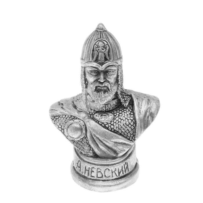 "Бюст ""Невский А."" (под серебро), 7.5× 7.5× 12.5 см"