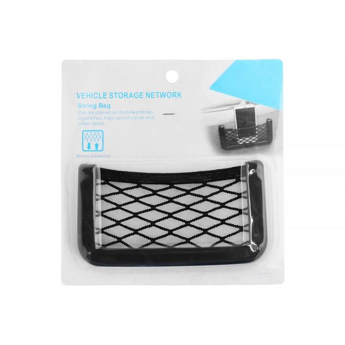 Карман-сетка под телефон TORSO, на клейкой ленте, 22,3 х 18 см, чёрный