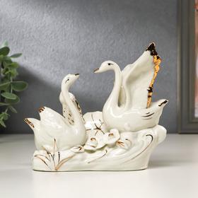 """Сувенир керамика """"2 лебедя с лотосом"""" 13х15х4,5 см"""