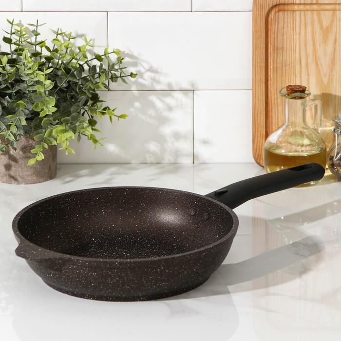 Сковорода , 22×5 см, съёмная ручка, антипригарное покрытие, цвет кофейный мрамор