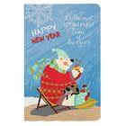 """Блокнот А6, 96 листов на клею """"С новым годом! Медведь"""", картонная обложка, нелинованный блок с узором"""
