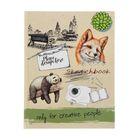 """Скетчбук А5, 80 листов """"Панда и лиса"""", твердая обложка, глянцевая ламинация"""