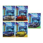 """Тетрадь 12 листов линейка """"Машины на синем фоне"""", обложка картон хромэрзац, 5 видов МИКС"""