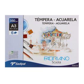 Бумага для Акварели в папке 297 х 420, А3, Fabriano Tempera-Aguarela, 6 листов, 350 г/м²