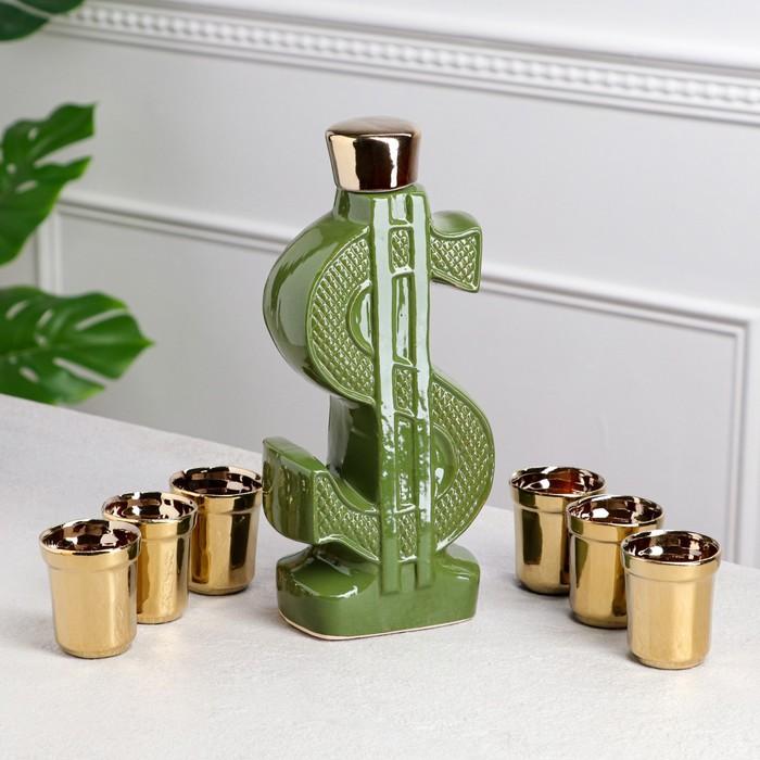 """Набор для вина """"Доллар"""", 7 предметов в наборе, 0,8 л/0,1 л, микс - фото 797751279"""