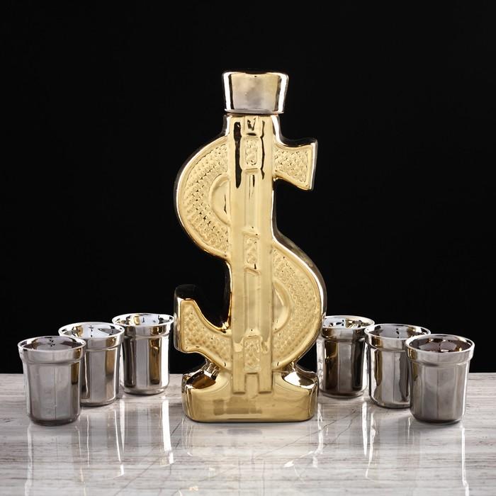 """Набор для коньяка """"Доллар"""", покрытие булат, 7 предметов в наборе, 0,8 л / 75 л, микс - фото 797751282"""