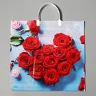 """Пакет """"Розы в лазури"""", полиэтиленовый с пластиковой ручкой, 36 х 37 см, 100 мкм - фото 190200308"""