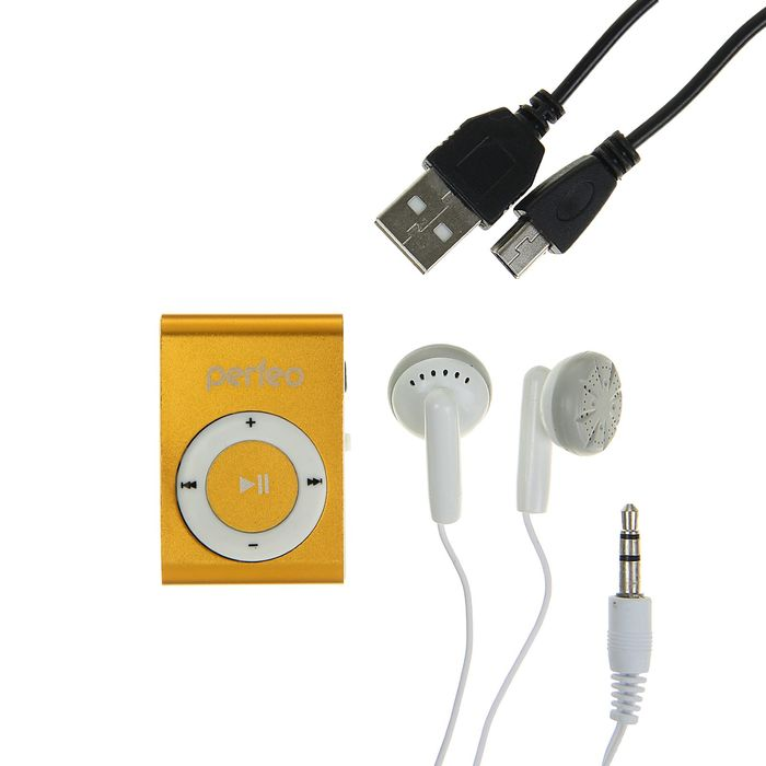 Цифровой MP3-аудиоплеер Perfeo Music Clip Titanium, золото
