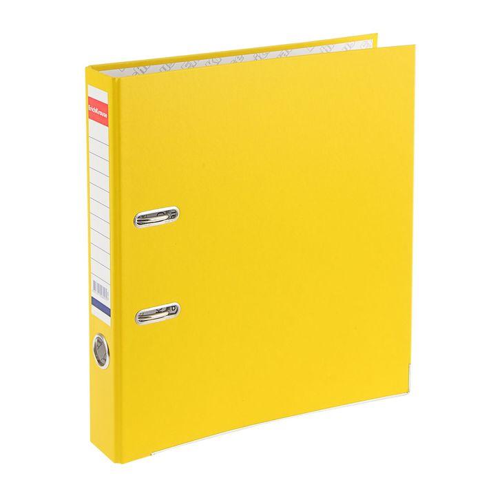 Папка-регистратор А4, 50 мм, «Стандарт», разборный, жёлтый, этикетка на корешке, металлический кант, картон 2 мм, вместимость 350 листов