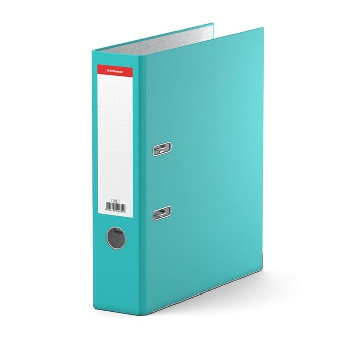 Папка-регистратор А4, 70 мм, «Стандарт», разборный, бирюзовый, этикетка на корешке, металлический кант, картон 2 мм, вместимость 450 листов