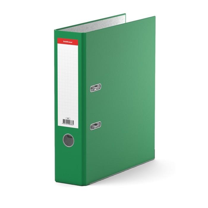 Папка-регистратор А4, 70 мм, «Стандарт», разборный, зелёный, этикетка на корешке, металлический кант, картон 2 мм, вместимость 450 листов - фото 504886521