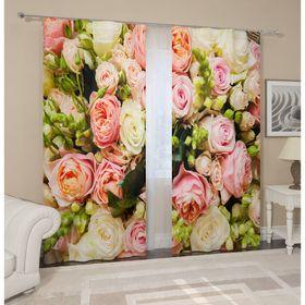 """Комплект штор """"Букет французских роз"""", ширина 145 см, высота 260 см, 2 шт, габардин"""