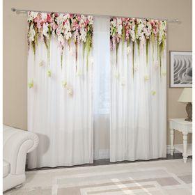 Комплект штор «Цветы на белом фоне», размер 145 х 260 см, 2 шт., габардин