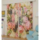 Тюль Букет французких роз, ширина 145 см, высота 260 см 2 шт, п/э