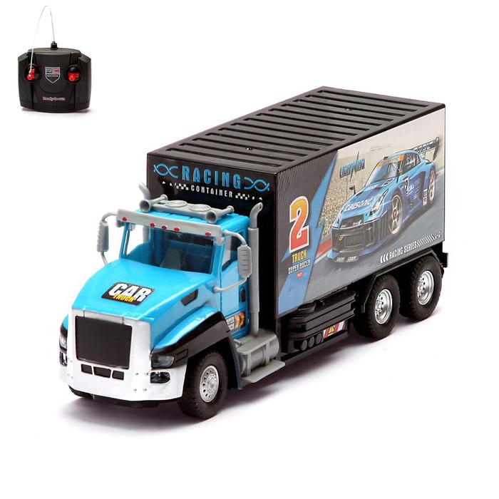 Грузовик радиоуправляемый «Гоночный фургон»,световые эффекты, работает от батареек, цвета МИКС
