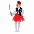 """Карнавальный костюм """"Пиратка"""", блузка, юбка, бандана, клипса, наглазник, сабля, р-р 28, рост 104 см"""