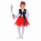 """Карнавальный костюм """"Пиратка"""", блузка, юбка, бандана, клипса, наглазник, сабля, р-р 32, рост 128 см"""